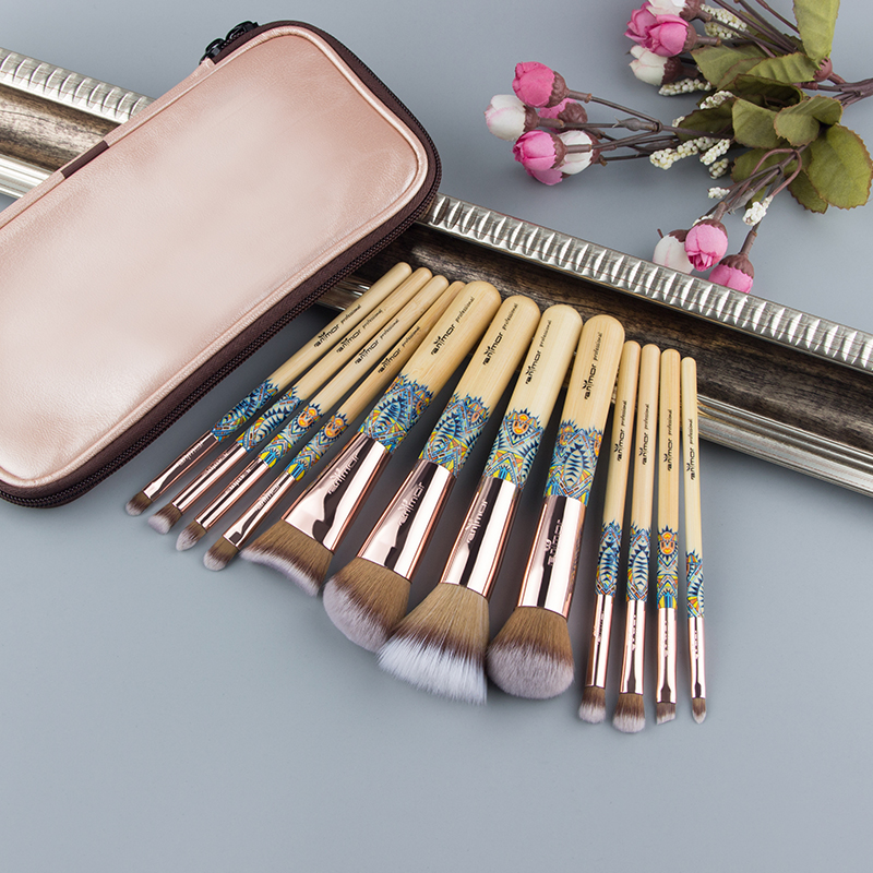 Anmor-12PCS-Make-Up-Brush-Bamboo-Nylon-Foundation-Eye-Shadow-Concealer-Makeup-Brushes-Tools-With-Pink