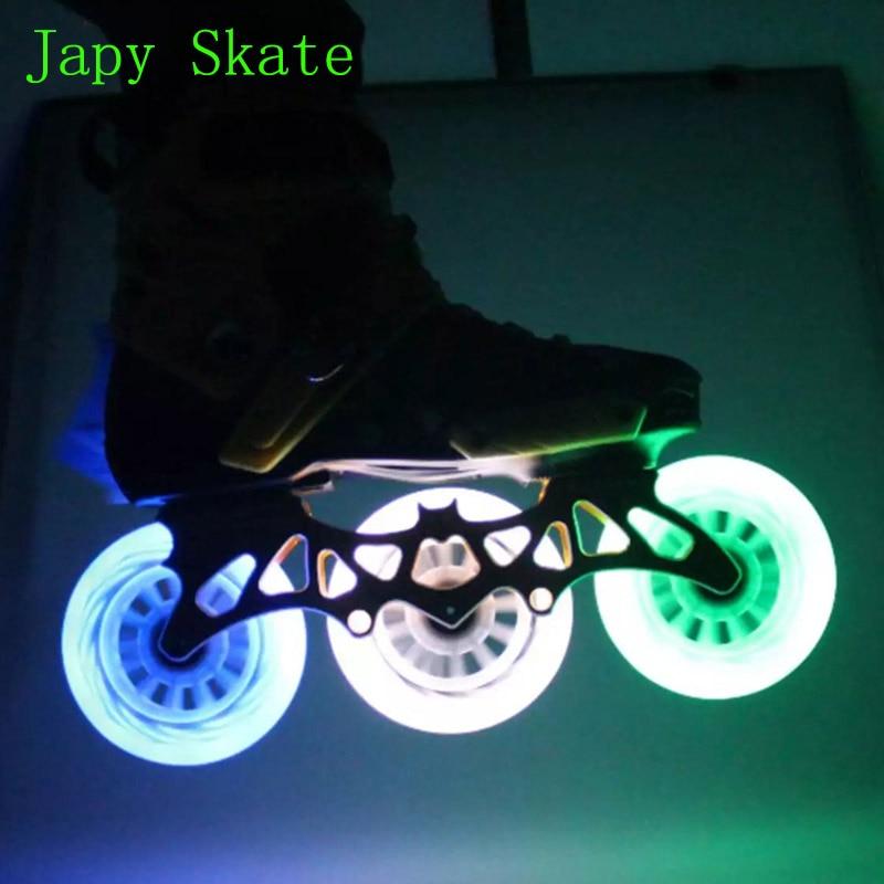 Japy Patin LED Flash Vitesse Patin Roues 8 pcs/lot 100% D'origine 90 100 110mm Roues de Roller course LED Éclairage patines Pneus