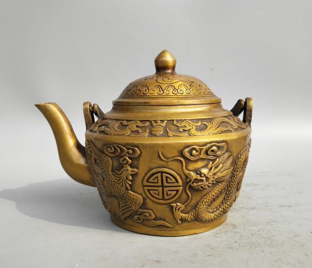 Collection archaize brass dragon phoenix teapot craft statue