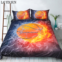 Lai Yin Sun 3pcs Bedding Set Plant Quilt Cover King Size Home Bed Set Flower Print Pink and Green Bedclothes Basketball