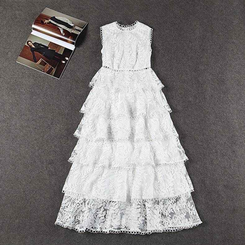 Royaume-uni auto-Portrait mode été piste sans manches dentelle broderie robe sur les bretelles avec volants longue robe Vestido