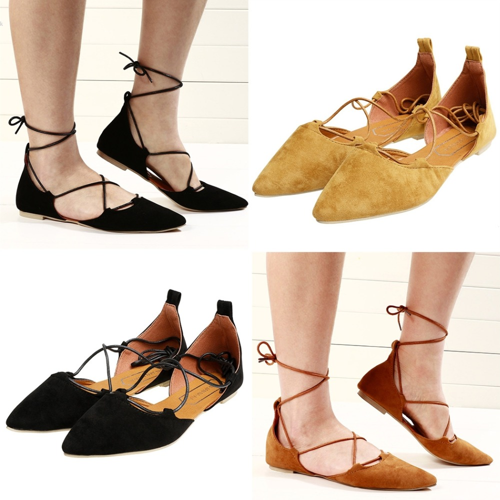 b5bfa711a718 2017 Spring Summer Women Black Suede Pointed Toe Cross Strappy Lace Up  Ballerina Ballet Flat Shoes-in Women s Flats from Shoes on Aliexpress.com