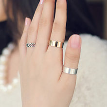 Three-Piece Golden Silver Smooth Rings Personalized Vintage Chain Midi Rings For Women(China)