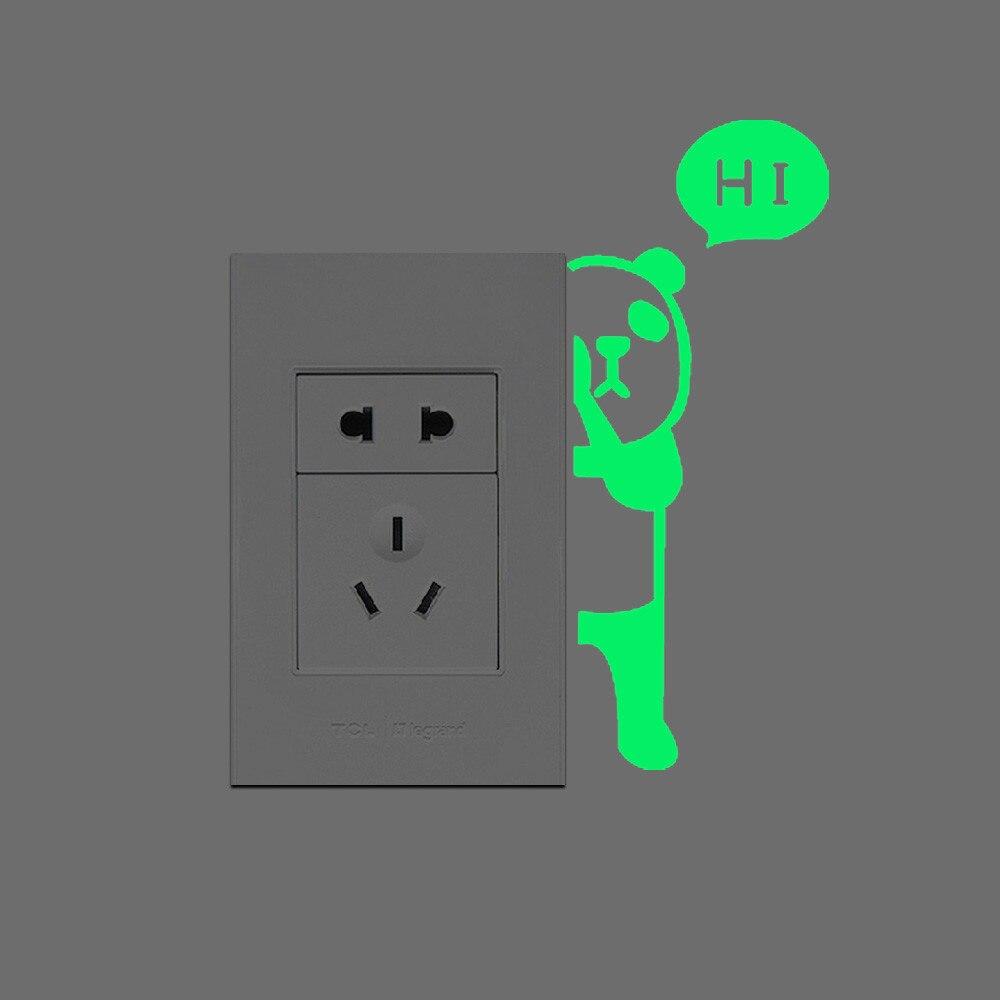Panda Say Hi Switch Sticker Glow In The Dark Luminous Wall