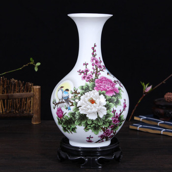 flower inserted Ceramic White Tabletop Vase Home Decoration vase Fashion Modern vases Floral pattern landscape vase ornaments vase