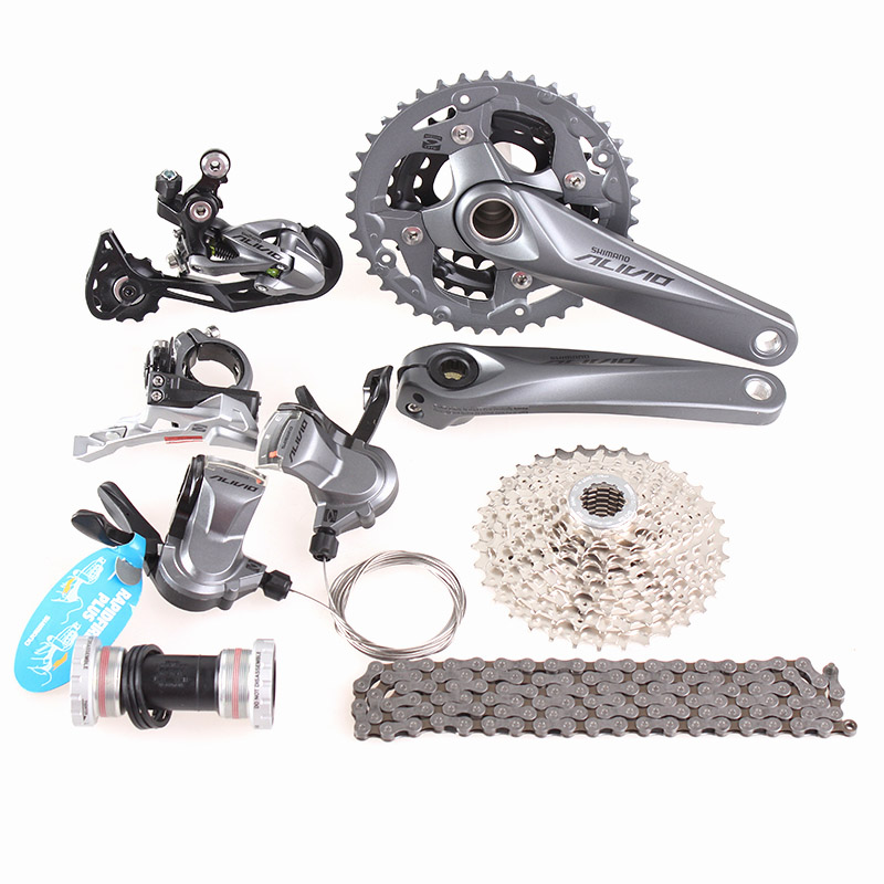 SHIMANO ALIVIO M4000 M4050 3x9S 27S speed MTB Bicycle groupset with hydraulic disc brake integrated m4050 alivio 3x9s speed mtb bike crank crankset fc m4050 with bb hollowtech bicycle parts for shinamo