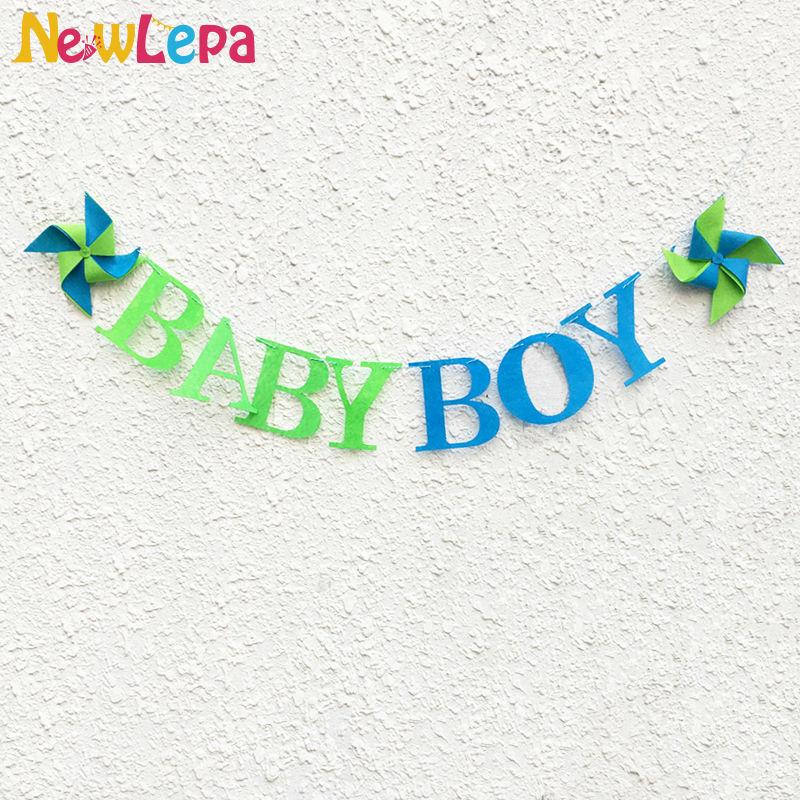 Personalizzato Pinwheel Baby Boy Felt Lettera Banner Baby Shower - Per vacanze e feste