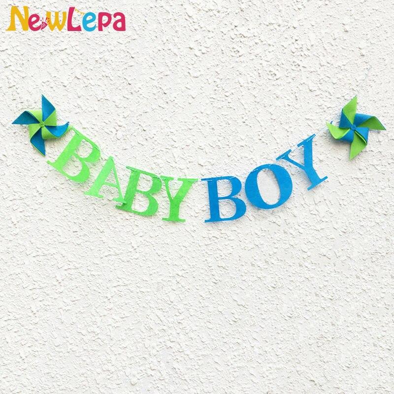 Personalizado Pinwheel Baby Boy Sentiu Carta Bandeira Do Chuveiro Do - Para feriados e festas