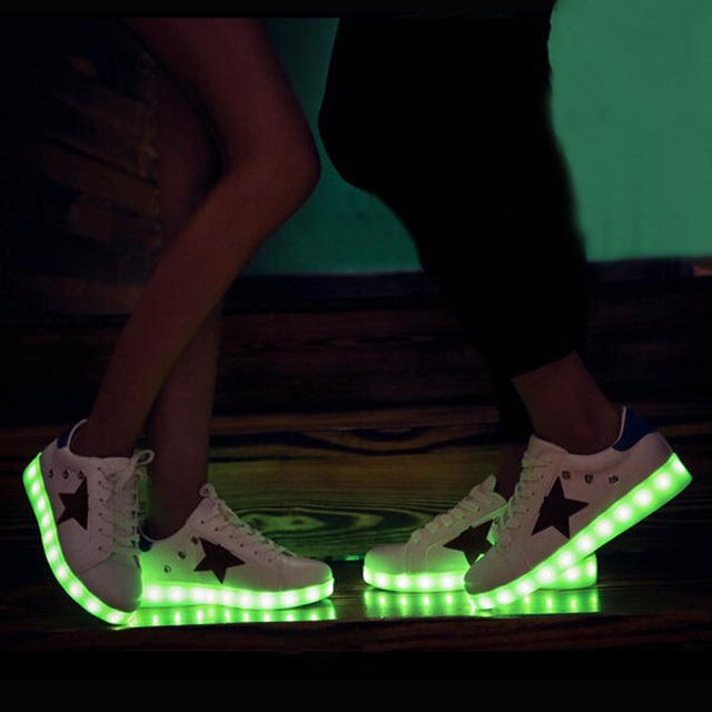 Led shoes for adults Unisex shoes 2017 fashion led Luminous shoes USB charging women shoes size 35-44
