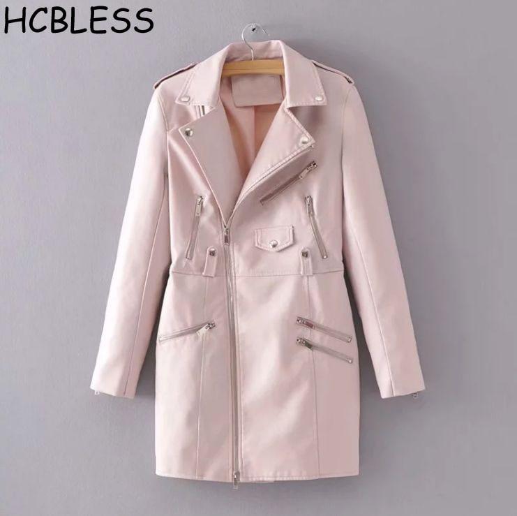 HCBLESS 2018 autumn new women zipper fake pocket long   leather   jacket wild slim   leather   jacket