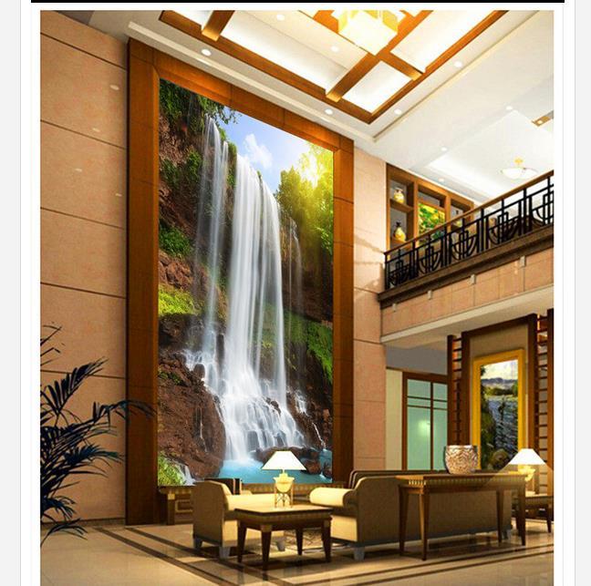 papel pintado moderno paisaje cascada entrada teln de fondo de pintura decorativa d murales de papel tapiz para sala de estar
