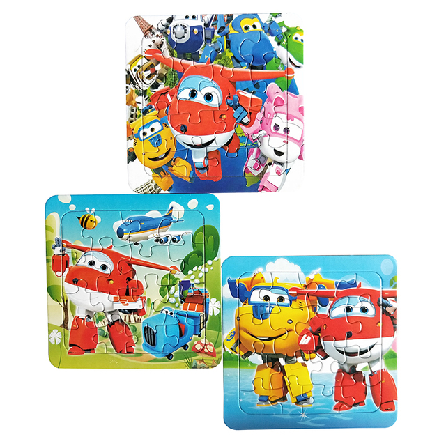 Puzzles Famous Cartoon Super Wings Educational Toy for Children for Baby 16 PCS Puzzle Game Free Shipping Kid Toys