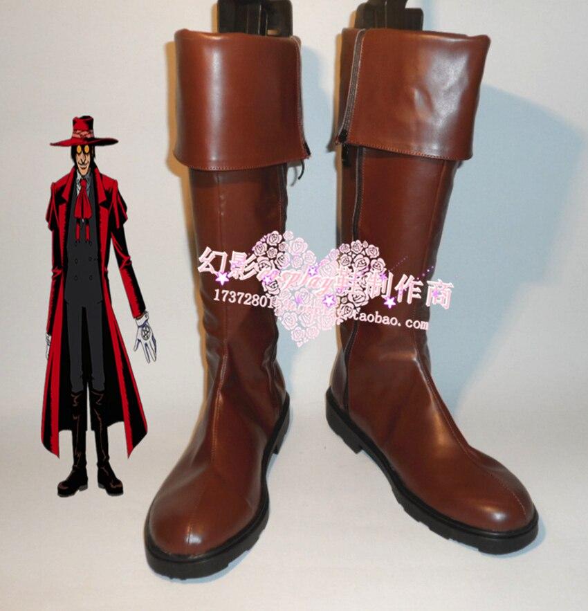 HELLSING Alucard Cosplay Shoes Halloween Brown High Boots Custom made
