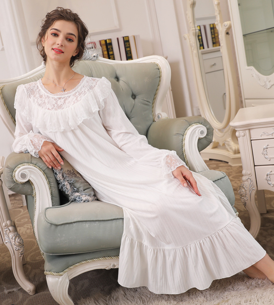 100% Cotton Lace Occlusion   Nightgowns     Sleepshirts   Women Long Horn Sleeve Nightwear Plus Size Nightdress Striped Drop Shipping