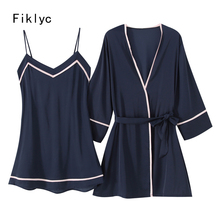 Fiklyc brand autumn design womens sexy two pieces satin patchwork robe & gown sets mini length nightdress + bathrobes sleepwear