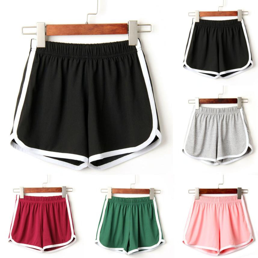 Fashion Women Lady Summer Daily Shorts Elastic Waist Simple Short Feminino Knee Length Solid Casual Shorts Hot For 90sPlus Size(China)