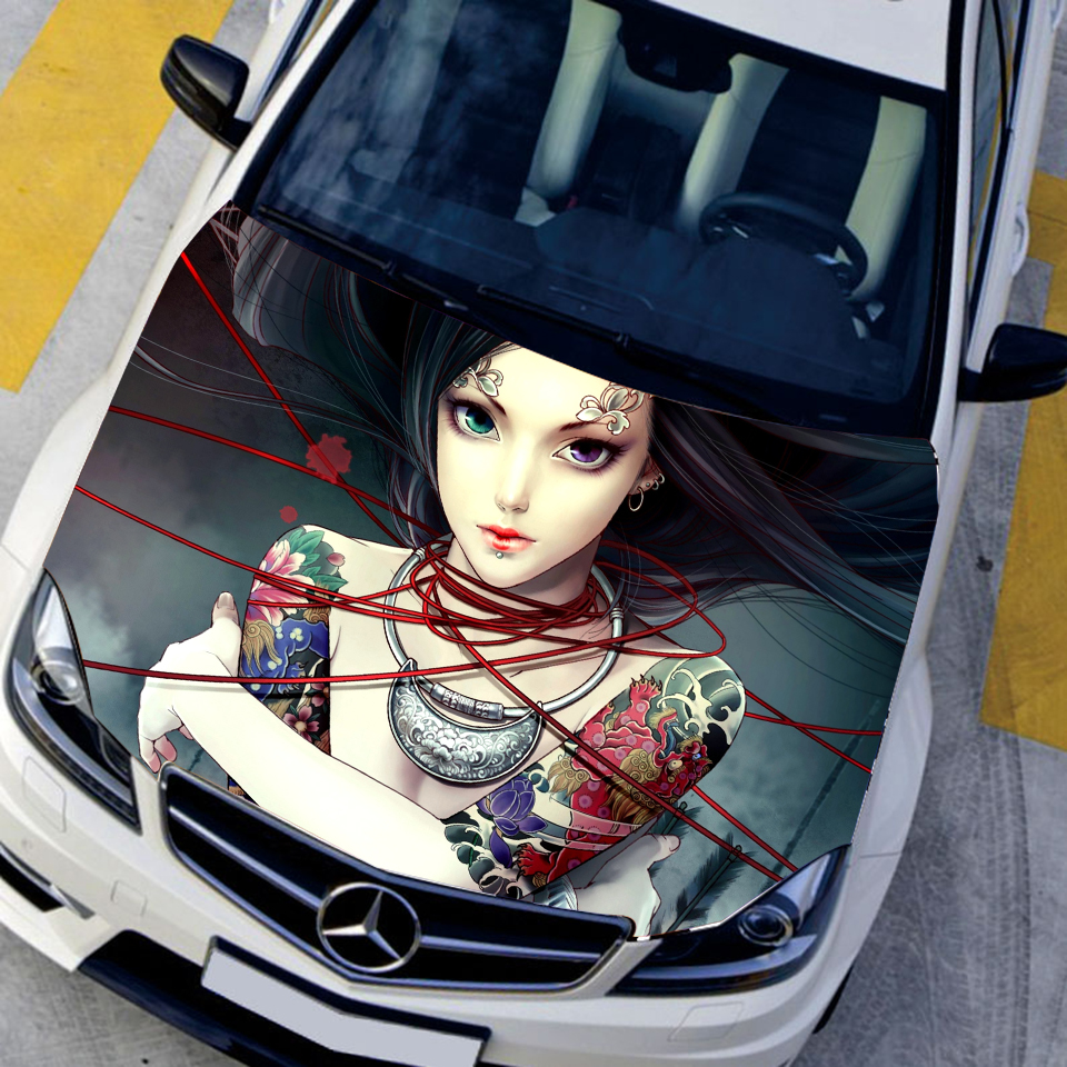 Car Styling Auto Vinyl Funny Car Stickers Animation Game Tattoo Sexy Girls Car Hood Sticker HD Waterproof Printing Sticker 12 11cm funny sexy witch lady gir sexy witch lady car stickers car sticker decals black silver blue yellow ct 585