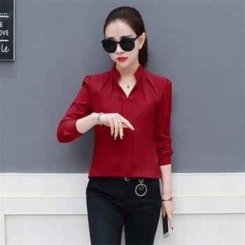 Women Sexy V-neckline Chiffon Blouse Ladies Long Sleeve Pleated Shirts Elegant Plus Size Stylish Office Blouse цена 2017