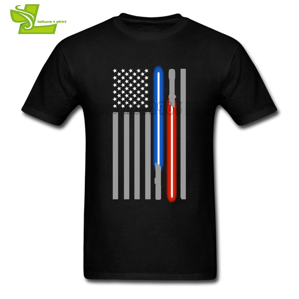 Lightsaber American Flag Star Wars T Shirt Men Short Sleeve Crew Neck Cheap Tee Male New Arrival Clothes Casual Guys Tee Shirt