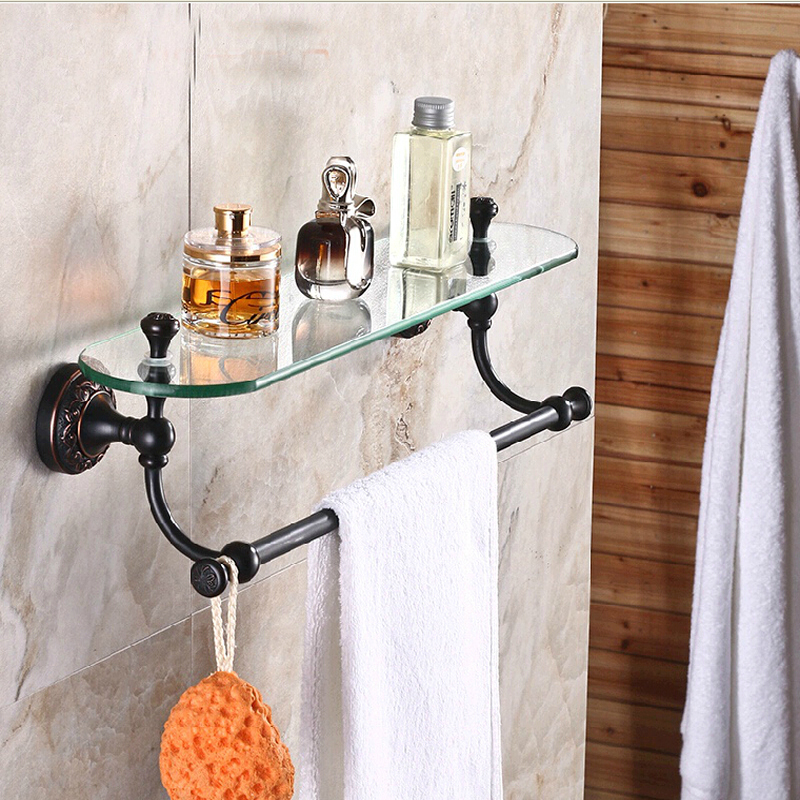 Wholesale And Retail Luxury Bathroom Shelf Oil Rubbed Bronze Flower Carved Glass Shelf Tier W/ Towel Bar Wall Mounted oil rubbed bronze bathroom toilet paper holder roll towel bar holder wall mounted