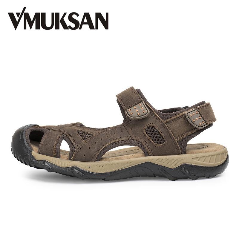 VMUKSAN Big Size 38 48 Men Sandals Real Leather Summer Sandalias 2017 New Mens Casual Beach