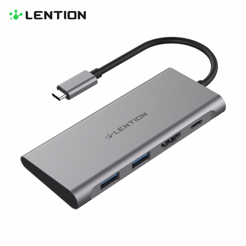 LENTION USB C Hub with USB3.0 Ports HDMI High Speed 4K 1080P Ultra HD Video Type C PD Power Delivery All in 1 Aluminium Adapter usb type c to hdmi uhd 4k adapter high speed usb3 0 hub converter with pd charging ports for macbook projector hdtv