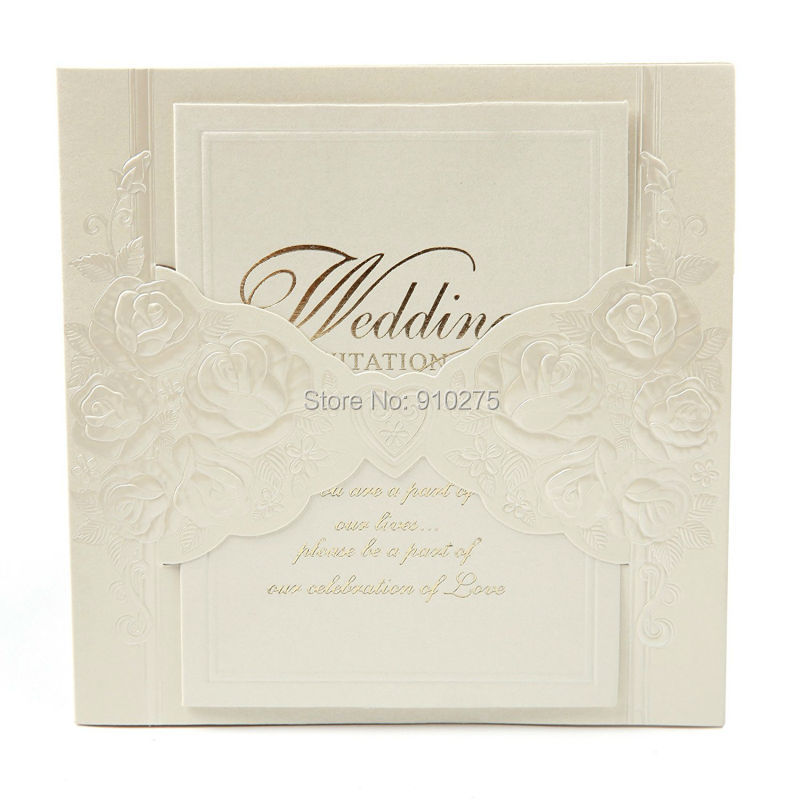 Us 37 99 Set Of 50 Ivory Embossed Rosette Rose Flower Wedding Invitation Party Invite Cards In Invitations From Home Garden On