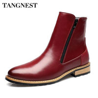 Tangnest Autumn NEW Patent Leather Boots For Men Pointed Toe Motorcycle Boots Side Zip Ankle Boot