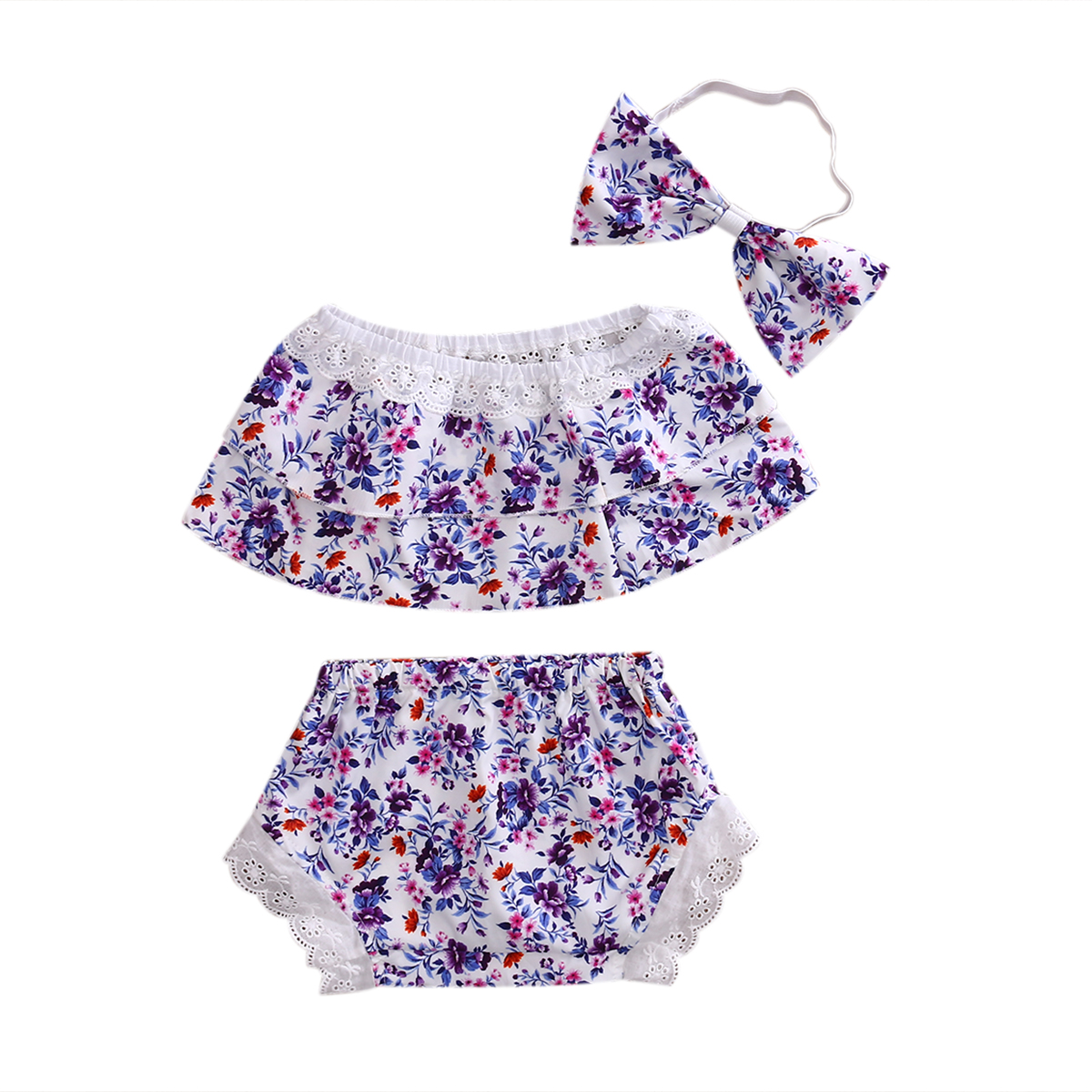 3Pcs/Set Newborn Toddler Kids Baby Girls Purple Floral Tube Top +Lace Shorts +Headband 3Pcs Outfit Sets Clothes