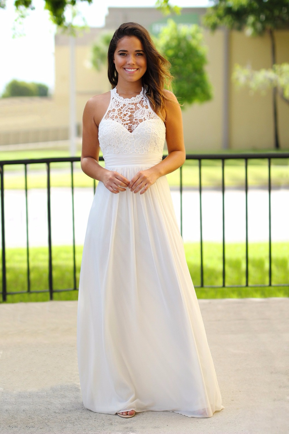 Ivory Beach   Bridesmaid     Dresses   2019 Long Lace Maxi Chiffon Summer Bohemian Formal Wedding Party Gowns Custom Made 2019 New