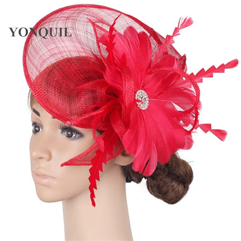 Fashion Race Sinamay Fascinator Fedora Hats Wedding Feather Flower Headdress Elegant Bridal Red Cocktail Hair Accessories SYF289