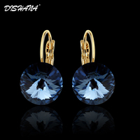 New 2014 Fashion 18k Gold Plated Multicolor Gemstone Jewelry Circular Vintage Charms Women S Drop Earrings