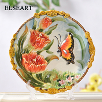 Ceramic european Garden Tulips and butterflies dish ornament porcelain plate figurine for home decoration gift