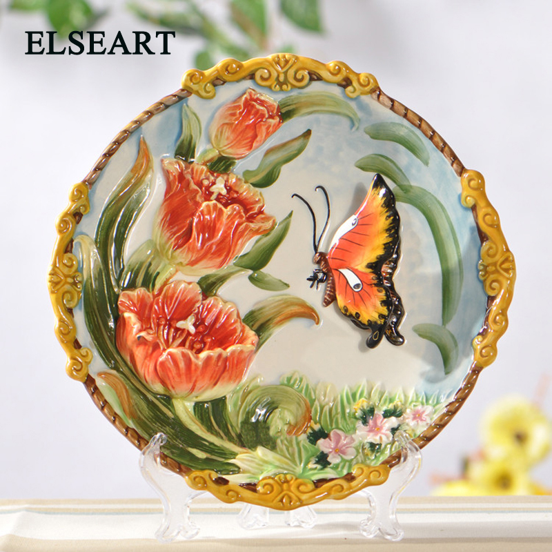 Ceramic european Garden Tulips and butterflies dish ornament porcelain plate figurine for home decoration gift Ceramic european Garden Tulips and butterflies dish ornament porcelain plate figurine for home decoration gift