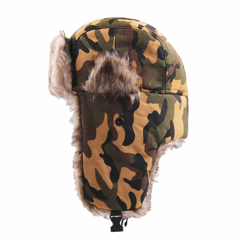f51919355 Unisex Winter Hat Russian Ski Hat Tactical Camouflage Plush Earmuffs Padded  Flat Cap Winter Warmer Hiking Bushcraft 4A