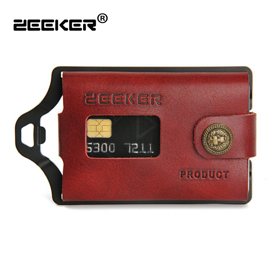 ZEEKER New Multifunctional Leather Metal Wallet Rfid Blocking Card Holder Credit Card Wallets Men's Wallets