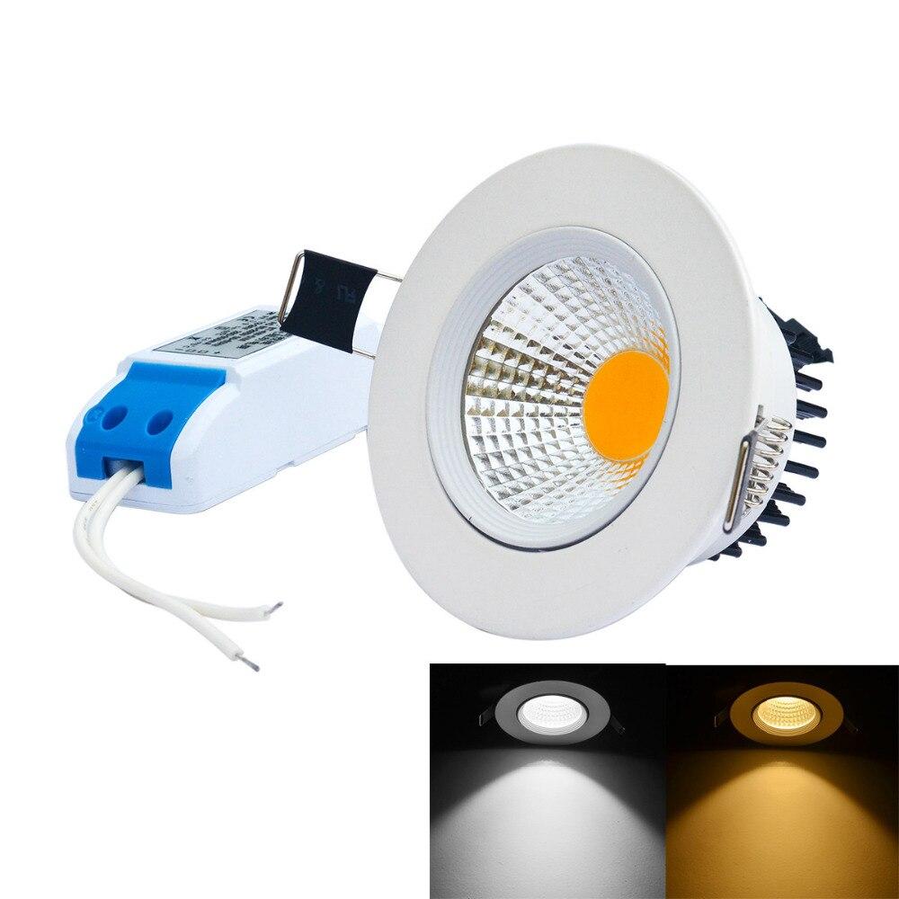 J&W 6pcs / lot 7W Dimmable antideslumbrante COB LED circular luz de - Iluminación interior