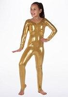 Icostumes Girls Metallic Silver Gold Gymnastics Unitards Full Bodysuit Stirrup Stage Performance Ballet Toddler Dance Dancewear