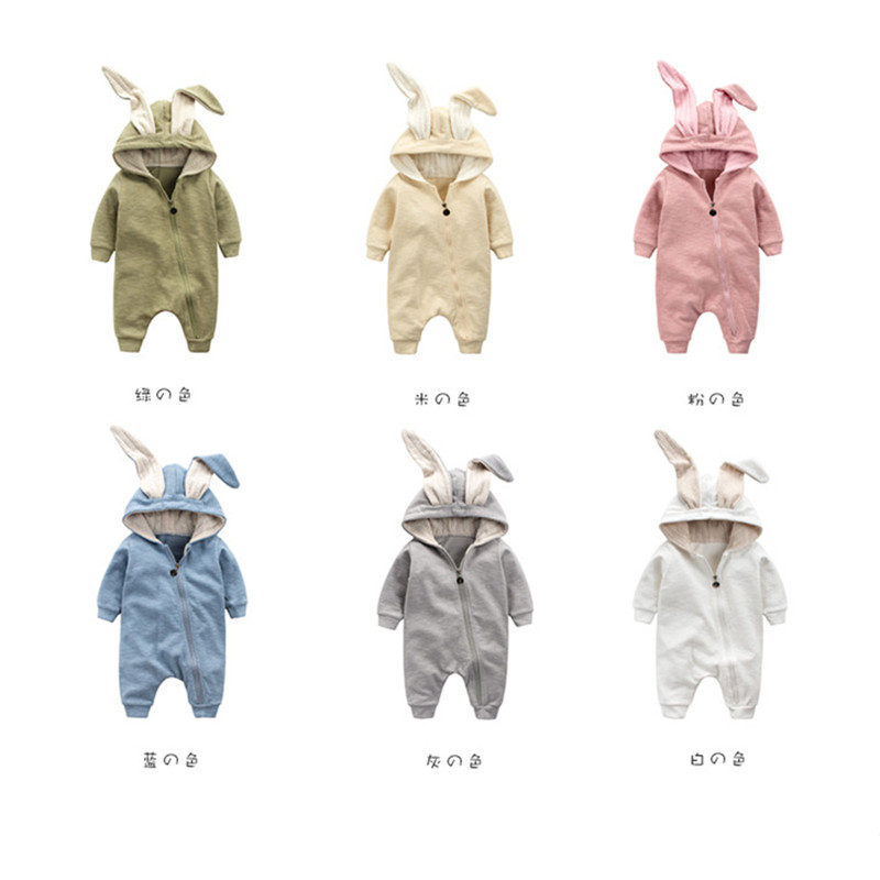 b22725c963e Cute Baby Rabbit Romper Newborn Baby Cartoon Bunny Ears Cotton Jumpsuit  Infant Long Sleeve Warm Outerwear Kids Clothes D0287-in Rompers from Mother    Kids ...