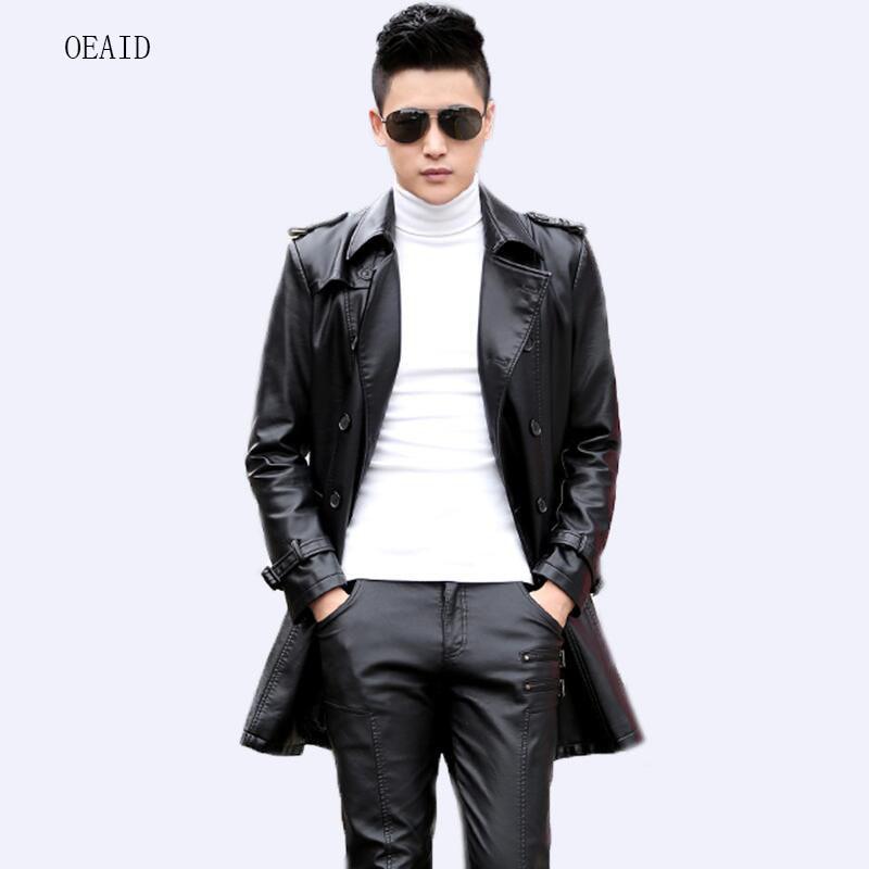 d29611708f6 OEAID Fashion Plus Size M L XL XXL 3XL 4XL Long Leather Coat Men Leather  Jacket 2018