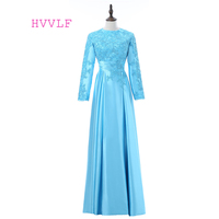 Turquoise 2019 Muslim Evening Dresses A line Long Sleeves Appliques Lace Hijab Dubai Abaya Saudi Arabia Long Evening Gown
