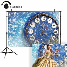 цена Allenjoy background for photo studio Christmas snow blue clock new year princess backdrop photography photocall photobooth