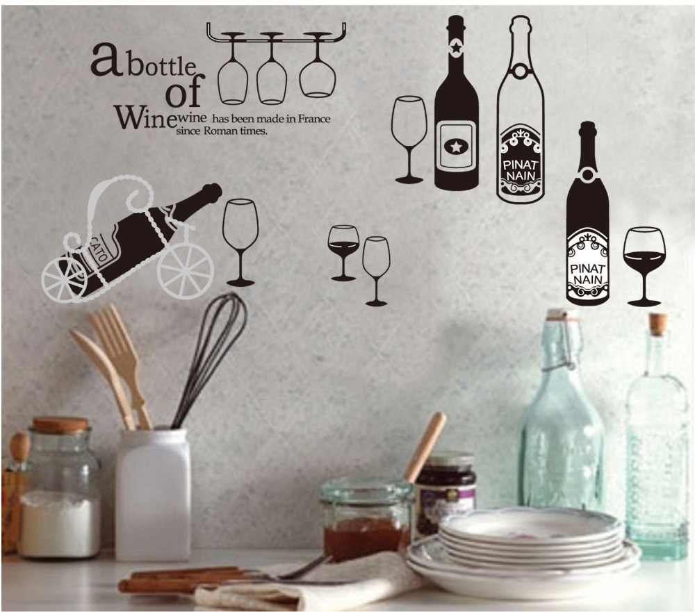 online buy wholesale adult decal from china adult decal  - grape wine drink bottles wall stickers decals dining room vinyl wallpaperposter adult women men home