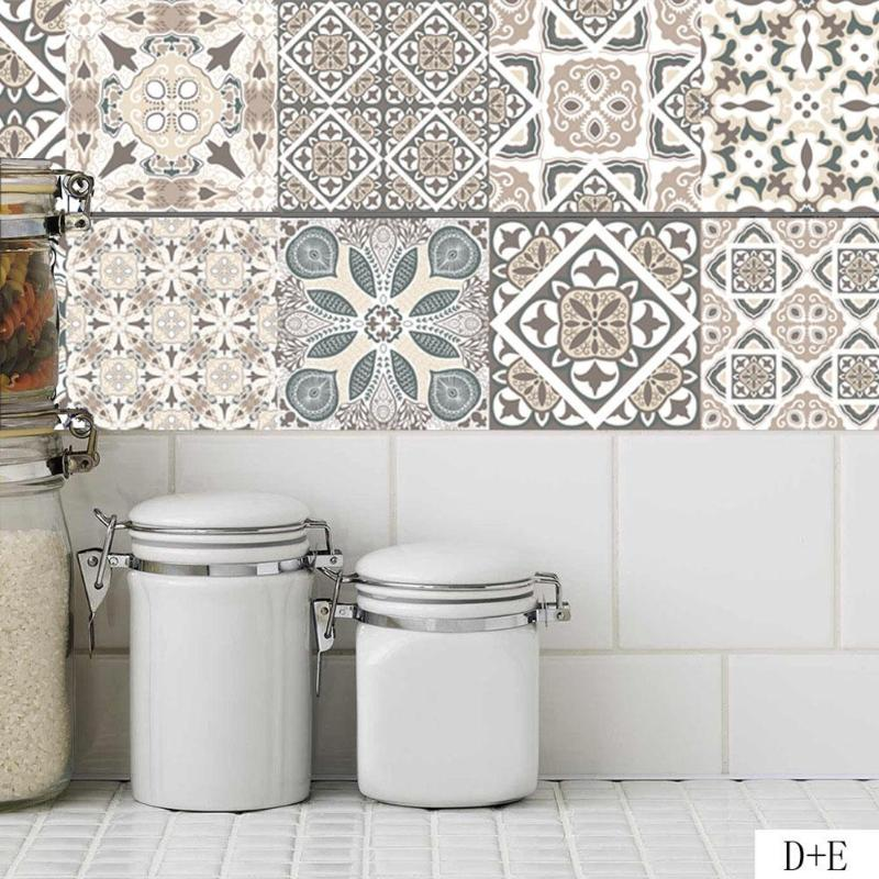 Retro Tiles Wall Stickers For Bathroom Kitchen Tile