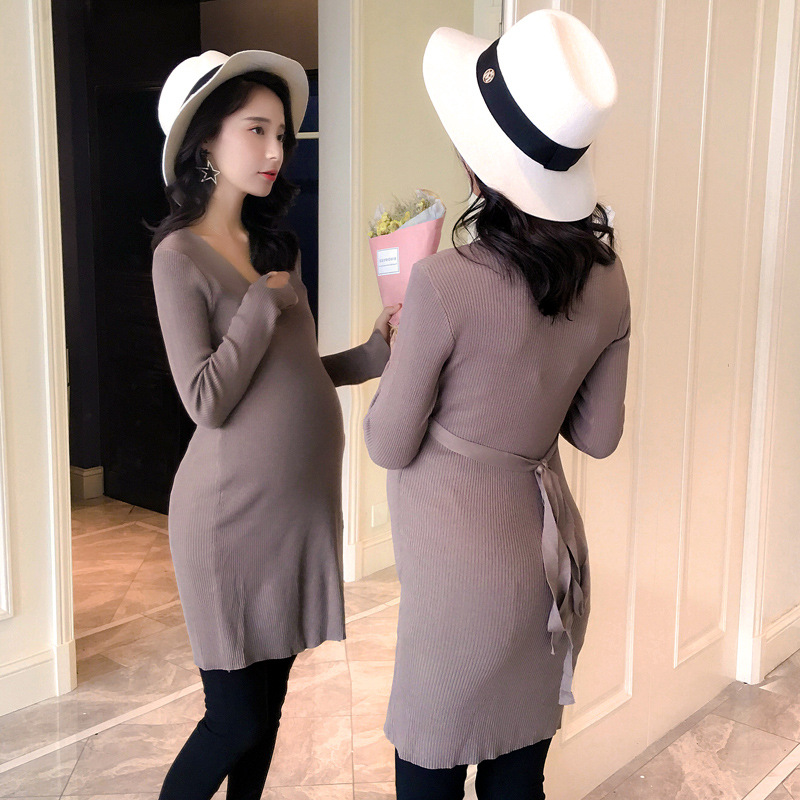 Maternity dress long sweater Pregnant women fall dress tight high stretch sweater