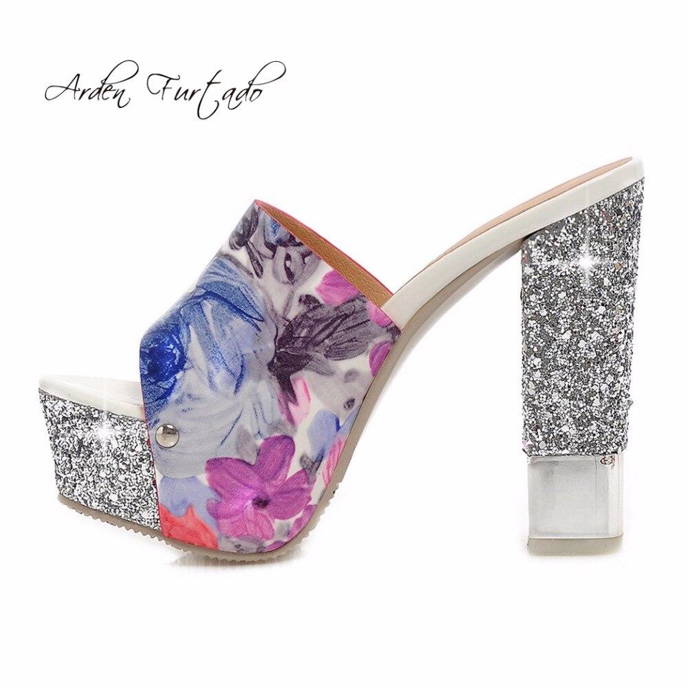 49794123017e7 Aliexpress.com   Buy Arden Furtado 2018 summer fashion slip on bling bling  wedding shoes flowers platform high heels bling bling slippers sequined  from ...