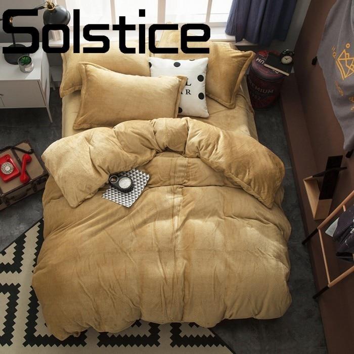 Solstice Accueil Textile Respirant et confortable flanelle actif solide couleur double literie linge de lit housse de Couette taie d'oreiller