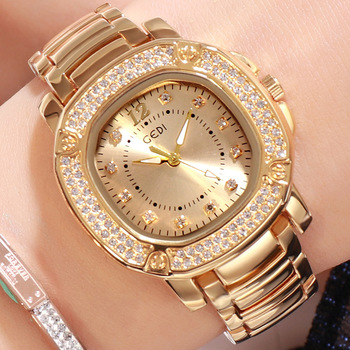 2019 Luxury Brand Gold Quartz Ladies Watch Stainless Steel Strap with Diamond Square Waterproof Female Wristwatch Women Watches