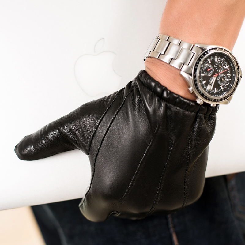 Prime Classic Men's Police Gloves Slim Fit Tight Style Tactical Dress Glove Chauffeur Real  Nappa Leather Gloves For Driving