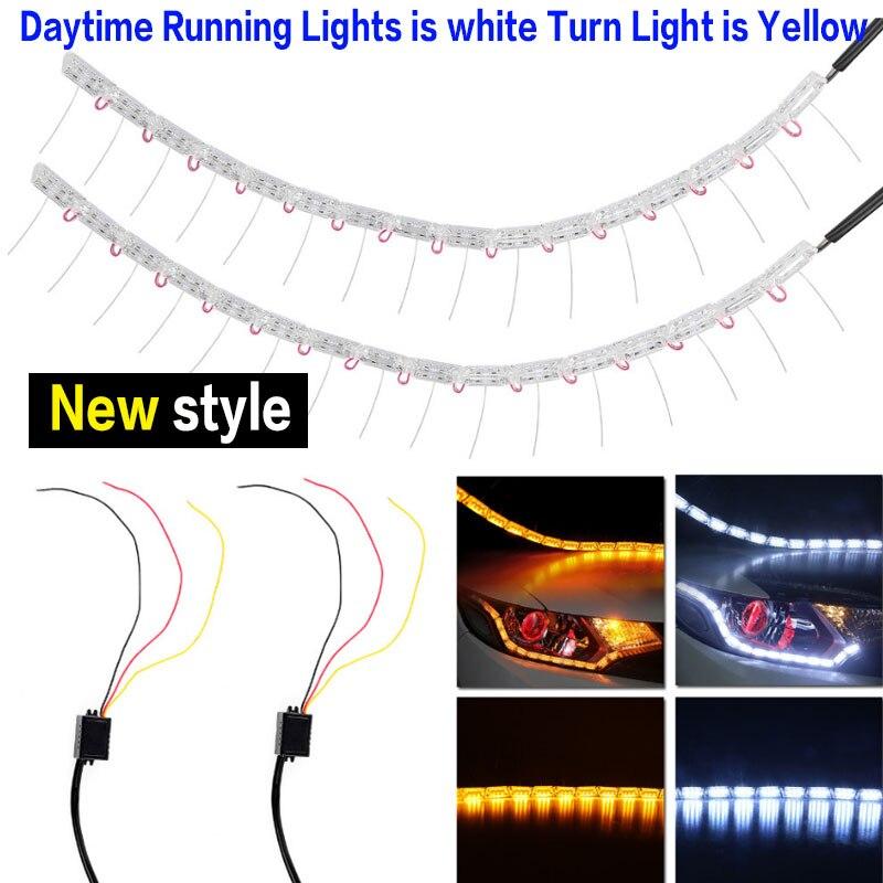 2016new style White Tears Light Amber Flexible Headlight LED Stripe Daytime Running Light DRL Decorative Light With Turn Light